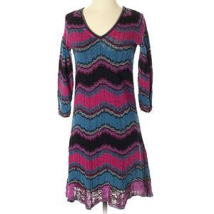 M Missoni v-neck dress cotton flame stitch zig-zag
